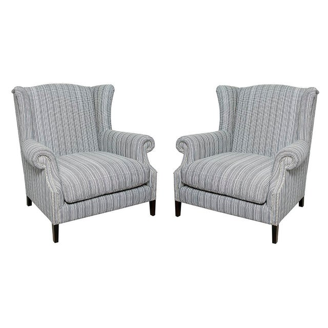 Studded Pinstripe Wingback Chairs - a Pair For Sale - Image 4 of 4