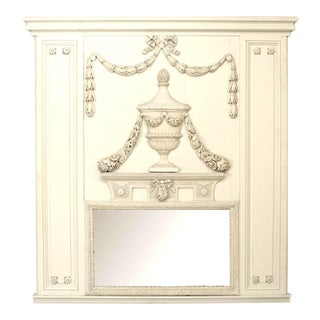 French Louis XVI Painted Trumeau Mirror For Sale