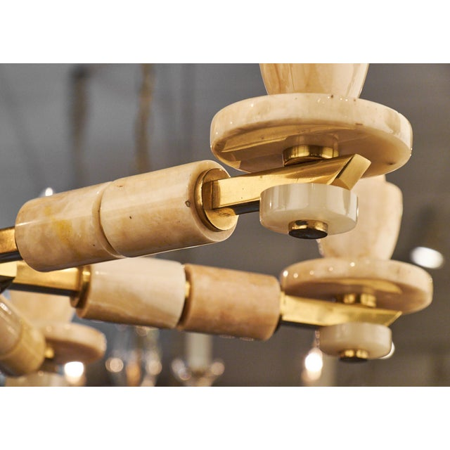Italian Six-Arm Onyx Brass Chandelier For Sale - Image 11 of 11
