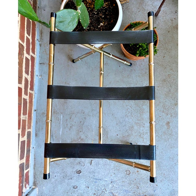 1970s Mid-Century Faux Bamboo Brass Luggage Rack. For Sale In Washington DC - Image 6 of 11