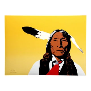 "Ward Churchill ""Little Wolf"" Southwestern Pop Art Hand Signed Ltd Ed Serigraph Unframed, 1980 For Sale"