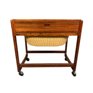 Vintage Danish Mid Century Modern Rosewood Sewing Cart - Side Table by Br Gelsted For Sale