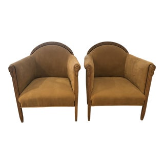 1960s Traditional European Beige Upholstered Club Chairs - a Pair