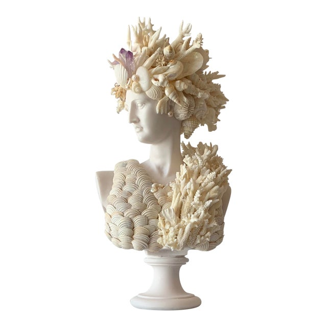 Cast Marble Shell Diana Bust Sculpture For Sale