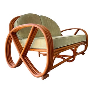 Vintage Round Rattan Pretzel Loveseat For Sale