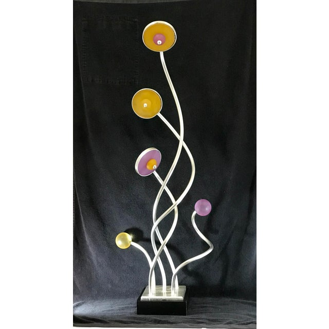 Vintage Mid-Century Modern Abstract Memphis Style Metal and Lucite Flower Sculpture For Sale - Image 12 of 12
