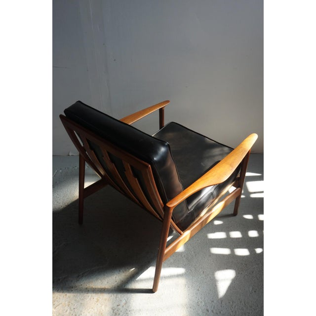 Textile 1960s Danish Modern Kofod Larsen for Selig Walnut Lounge Chair For Sale - Image 7 of 8