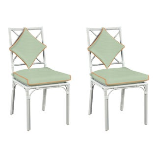 Haven Outdoor Dining Chair, Canvas Mint with Canvas Tuscany Welt, Pair For Sale