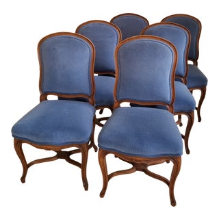 Set of Six French Dining Chairs in Blue For Sale