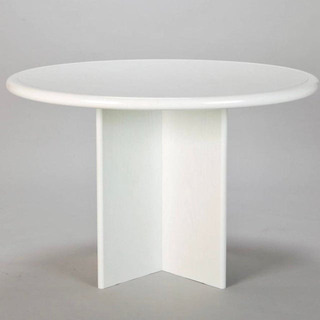 Mid Century White Lacquered Round Table - Image 2 of 8