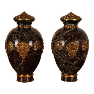 1920s Art Deco French Marble and Bronze Covered Gilt Cassolette Vases - Set of 2 For Sale
