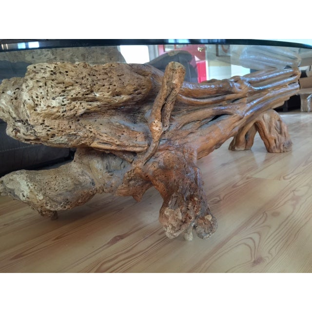 Driftwood Base Coffee Table With Glass Top - Image 8 of 9