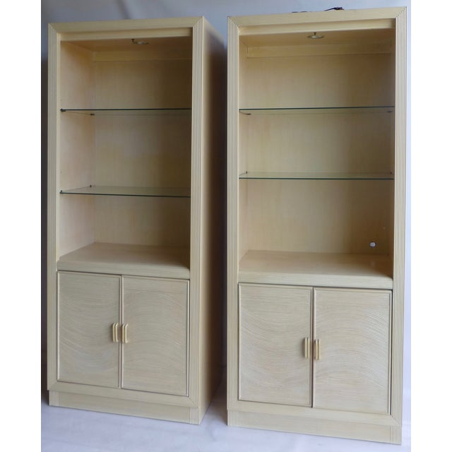 Modern Split Reed Lighted Cabinets - A Pair - Image 2 of 11