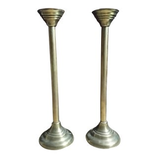 Art Deco Brass Church Pillar Floor Candle Holders - a Pair For Sale