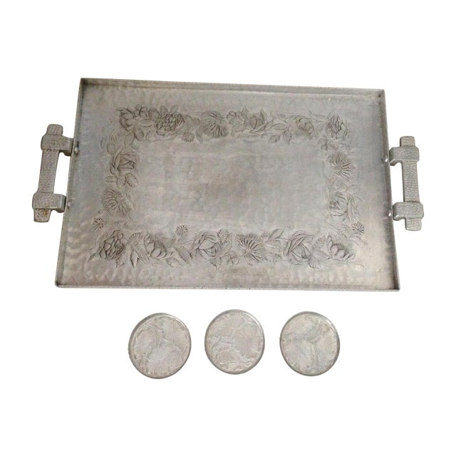 Hammered Aluminum Tray & Coasters - Set of 4 - Image 1 of 7