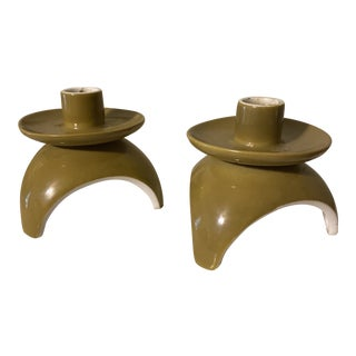 Japanese Pillar Candle Holders - a Pair For Sale