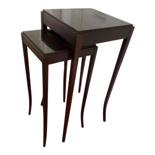 Barbara Barry for Baker Furniture Mahogany Nesting Tables - a Pair For Sale