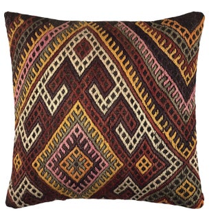 "Mustard and Maroon Vintage Kilim Pillow | 20"" For Sale"