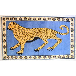 1980s Vintage Turkish Leopard Hunting Design Rug- 3′ × 5′ Preview