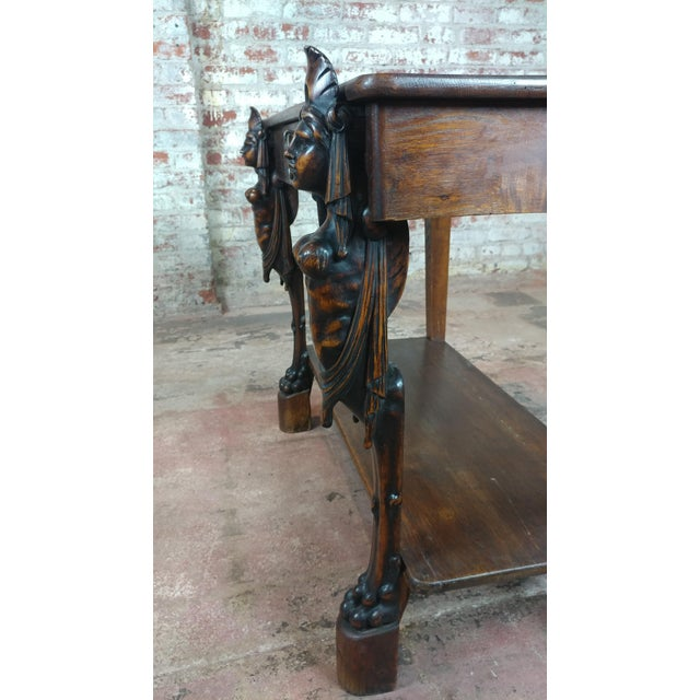 Antique Side table w/two carved Nude Female Figures For Sale - Image 10 of 12