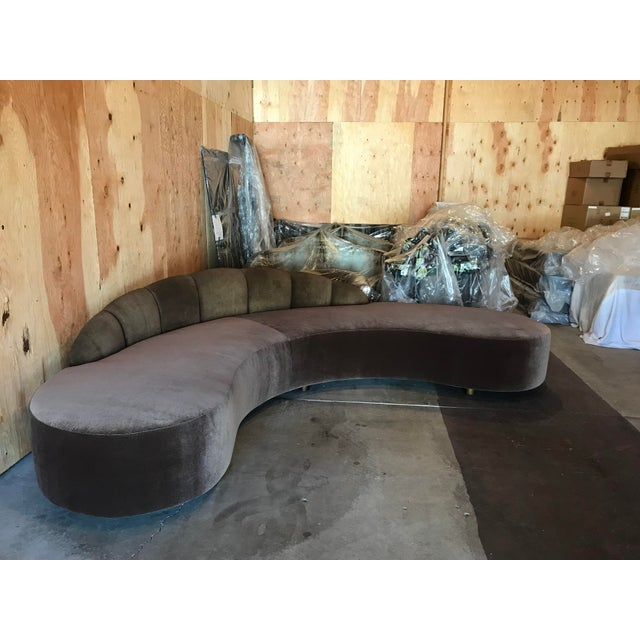 Mid-Century Modern Kagan Style Curved Sofa For Sale - Image 3 of 8