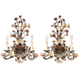 Gardenesque Iron Sconces - a Pair