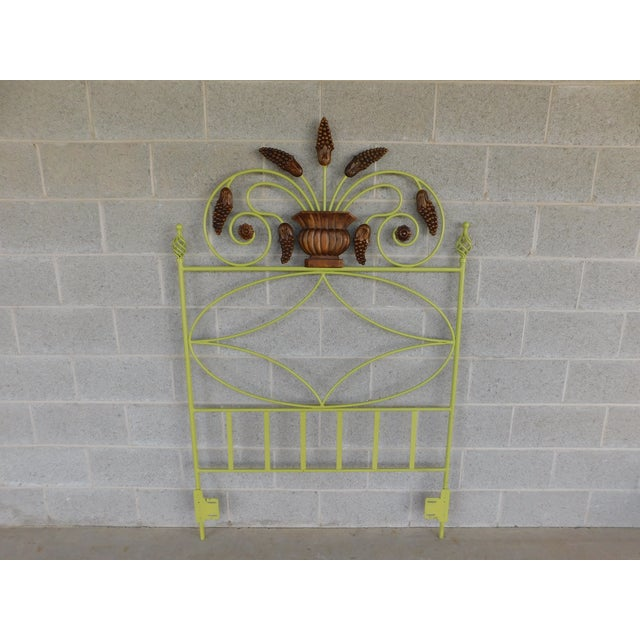 Country French Style Wrought Iron Paint Decorated Twin Headboard For Sale In Philadelphia - Image 6 of 7