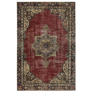 Distressed Semi-Antique Turkish Carpet | 6'2 X 9'5 For Sale