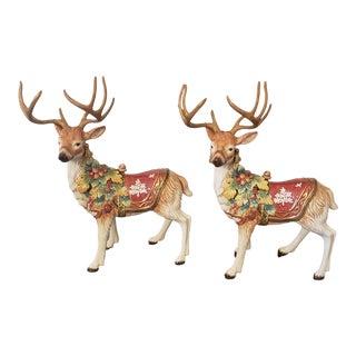 Fitz & Floyd Holiday Deer Reindeer Figurines - a Pair For Sale