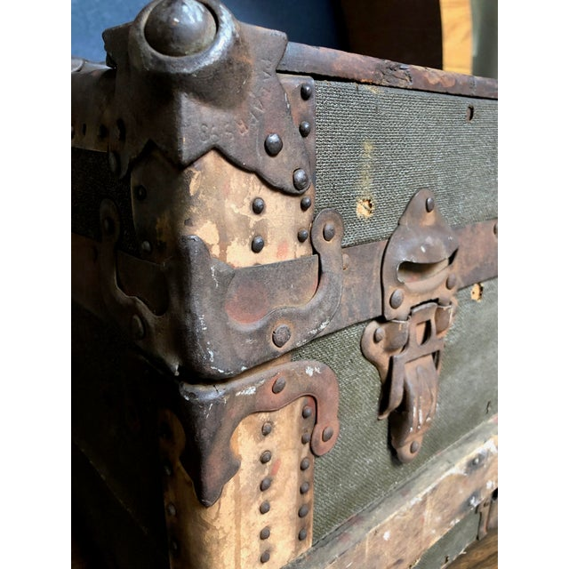 Vintage P & S Co. Wood Leather and Metal Trunk For Sale In Sacramento - Image 6 of 11