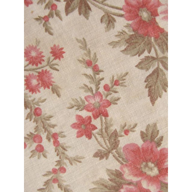 Antique French Fabric Floral Pink & Madder Tones Soft Cotton/Linen Fabric - 59ʺW × 64ʺD For Sale