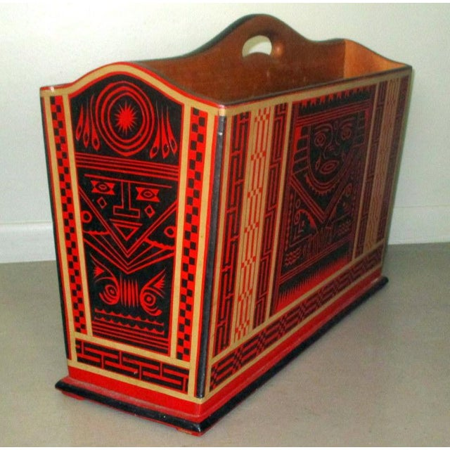 Mexican Lacquerware Magazine Stand With Aztec Designs For Sale - Image 4 of 13