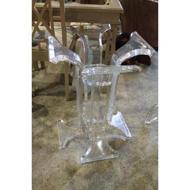 Vintage pair of two Lucite pedestals for a dining table, desk or large console. Glass top not included.
