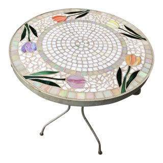 1970s Vintage Mosaic Tile Plant Stand For Sale