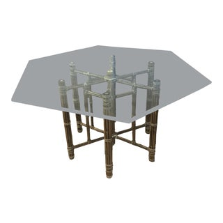 McGuire Bamboo + Leather Wrap Glass Dining Table For Sale