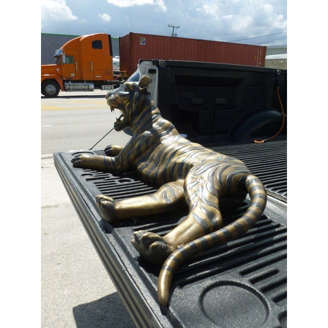 Hollywood Regency Large 70's Sitting Bronze Tiger For Sale - Image 3 of 8