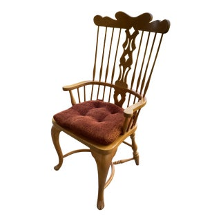 1980s Vintage Virginia House Pine Comb-Back Arm Chair For Sale