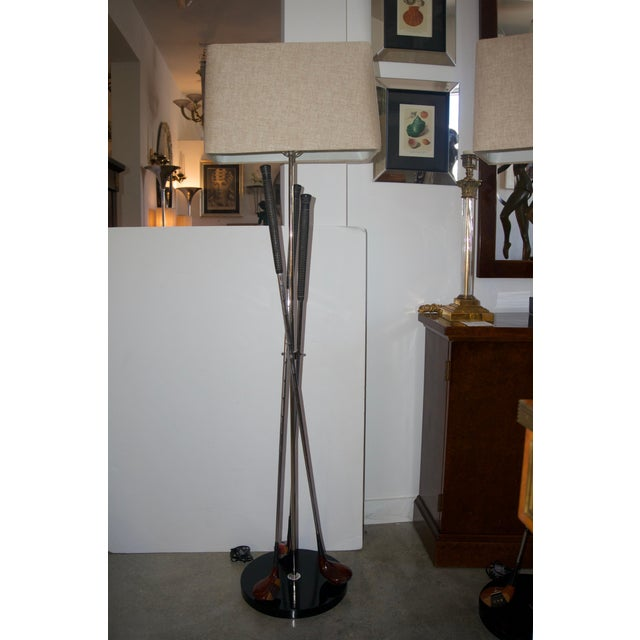 This handsome bespoke set of tripod, gold club floor lamps will make the perfect edition to your sporting room or man-...