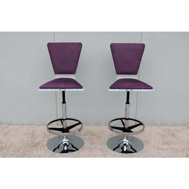 Modern Purple Suede & Acrylic Shlomi Haziza Barstools - A Pair For Sale - Image 3 of 13