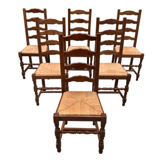 1910s Vintage French Louis Philippe Rush Seat Solid Walnut Dining Chairs - Set of 6 For Sale