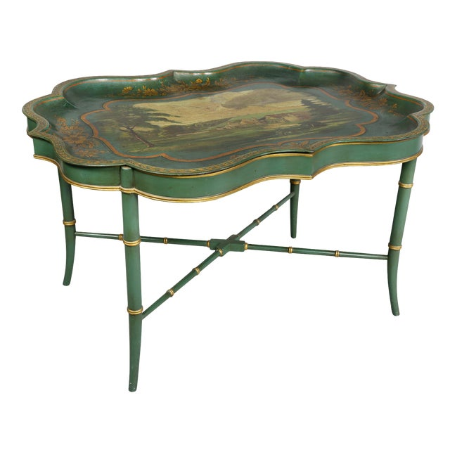 Victorian Green Painted Tole Tray Table For Sale