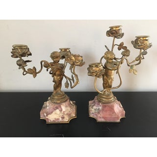 Antique Gilt Bronze Marble Putti Cherub Candle Holders- a Pair Preview