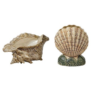 Shell Vase & Planter - A Pair