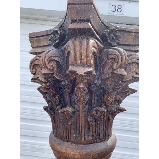 Early 20th Century Antique Corinthian Style Carved Mahogany Columns - a Pair For Sale - Image 5 of 13