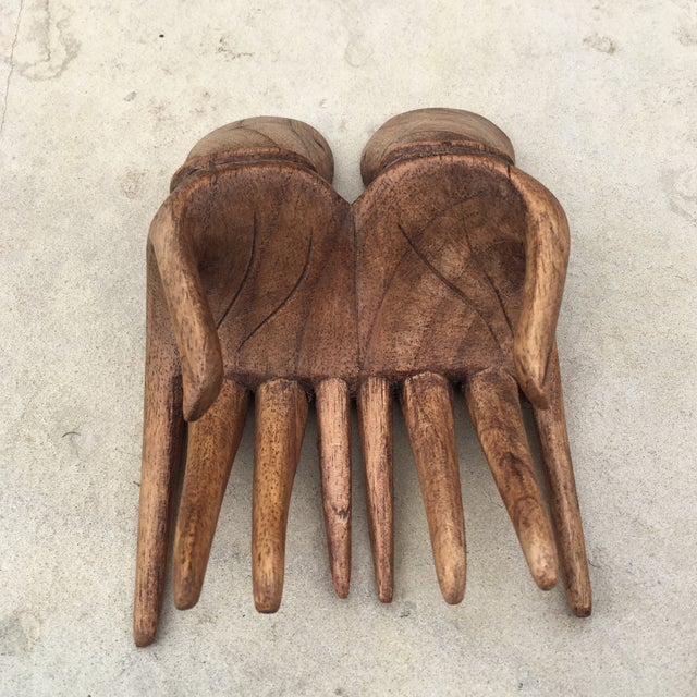 Carved Wood Hands Business Card Holder For Sale - Image 4 of 9