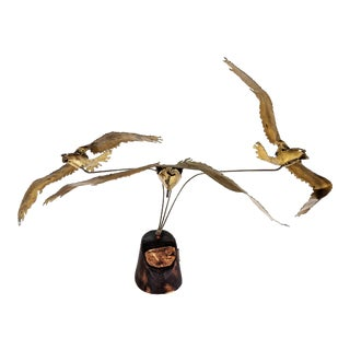 Flying Seagulls Brass Table Sculpture by Ratafia For Sale