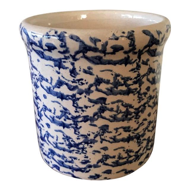 Blue California Pottery Spongeware Crock For Sale
