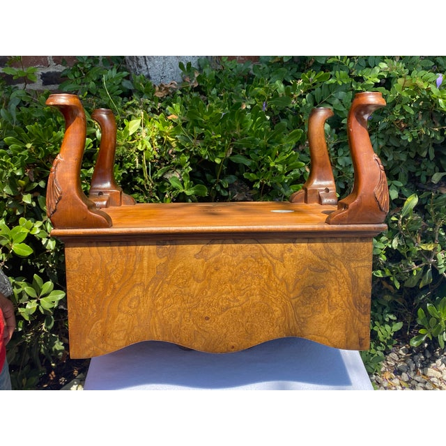 1980s Baker Furniture Queen Anne Burl Wood and Mahogany Magazine Rack For Sale - Image 11 of 13