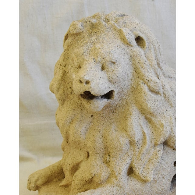 Antique French Sandstone Lion Statue Figure For Sale - Image 10 of 13