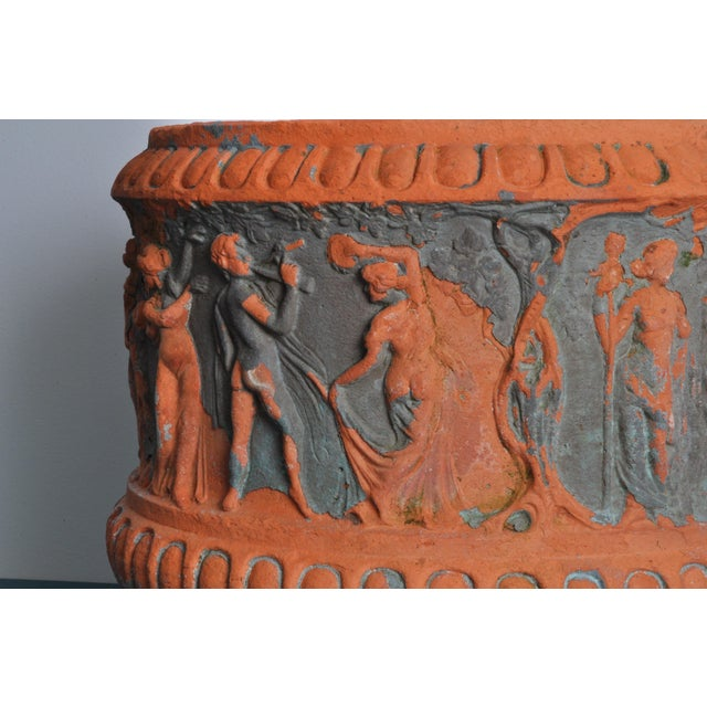 Circa 1900 rendition of the famous Roman Borghese motif with a high relief of Dionysus, maenads and satyrs. Clear...